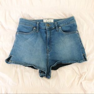 FREE PEOPLE Blue Denim Jean High Waisted Shorts